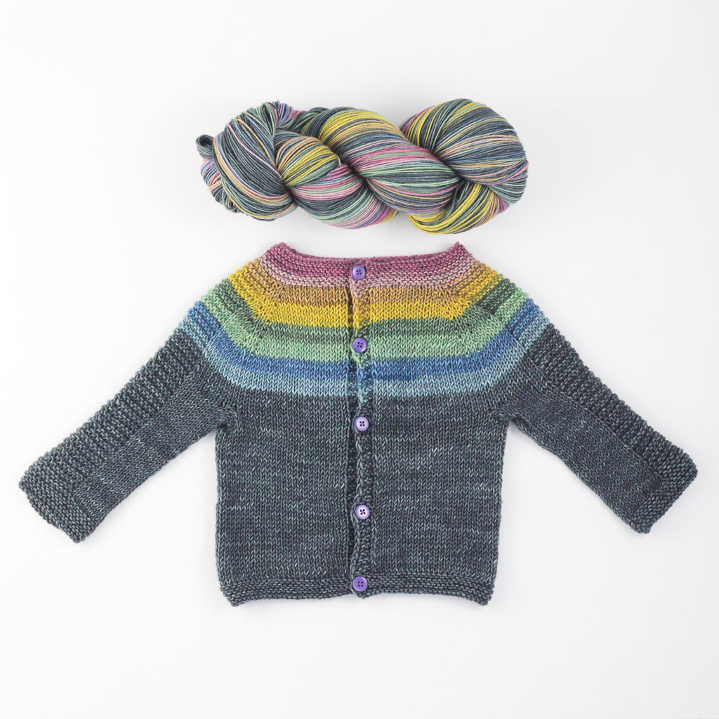 Flax Light knit sweater by Tin Can Knits | Rainbow Whiskey in a Teacup self striping yarn from Gauge Dye Works