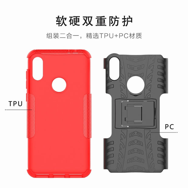 2 In 1 Armor Style Case For Moto C Plus X4 One Power P30 Note Back Cover Heavy Duty Coque Hard PC+ Silicone Fundas For Moto M