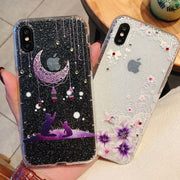 Carcasa For IPhone 7 7Plus Case Dream Moon Cat Glitter Rhinestone Phone Case For IPhone 7 6 6S 8 Plus IPhone X Case Cover Coque