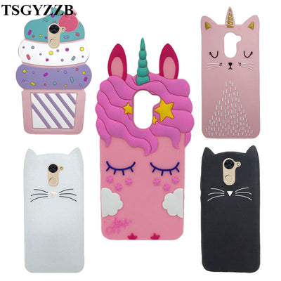 Cute 3D Cartoon Case For Huawei Y7 Unicorn Pink Cat Minnie Mouse Soft Silicone Back Cover For Huawei Y7 Y 7/Y7 Prime Phone Cases
