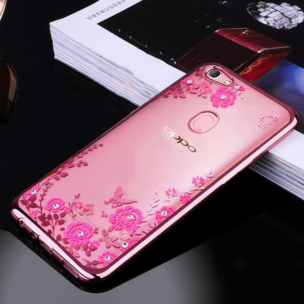 F7 Case For OPPO F7 Phone Case Cover Thin TPU Glitter Flower Bling Silicone Diamond Bumper Cover For OPPO F7 Phone Back Coque