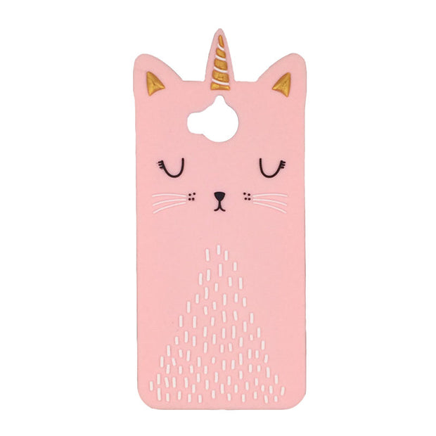 For Huawei Y6 2017 Case Silicone Cover Pink Black Beard Cat Soft Gel Mobile Phone Bag Protective Shell For Huawei Y6 2017 Phone