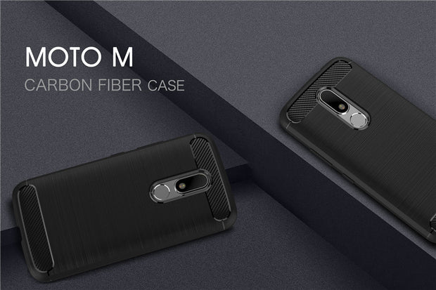 For Motorola MOTO M Carbon Fiber Texture Brushed TPU Protective Mobile Cover