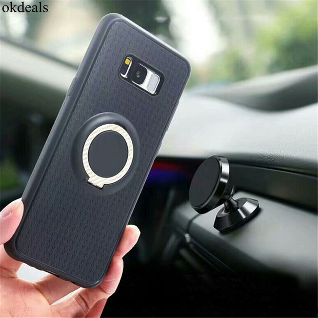For Sansung Galaxy S8 Plus Case 3in1 Magnetic Suction Bracket Finger Ring Soft Phone Cases For Sansung Galaxy S7 Edge Case Cover