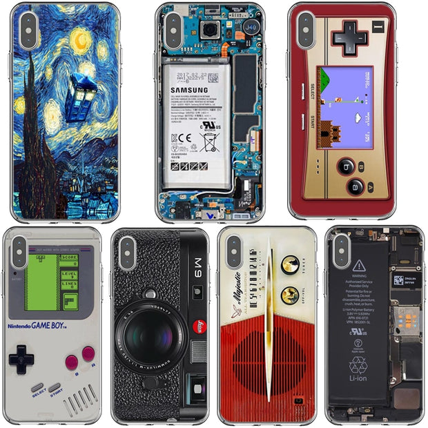 Funny Designs Retro Soft TPU Camera Game Machine Cartoon Painted Cover For IPhone 6 6s 7 8 Plus 5 5S X 5G XR XS MAX Cases Shell