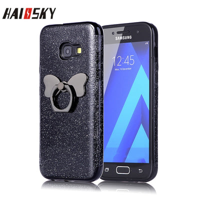 HAISSKY Glitter Finger Ring Stand Phone Case For Samsung Galaxy S8 S9 Plus S6 S7 Edge Note 9 8 J3 J5 J7 2017 Bow Ring Back Cover