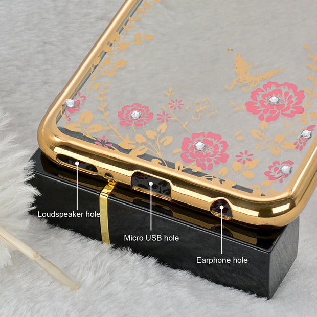 Huawei Honor 7C Pro Case Luxury Flower 3D Bling Diamond Silicone Soft TPU Cases Cover For Huawei Y7 Prime 2018 Nova 2 Lite Coque