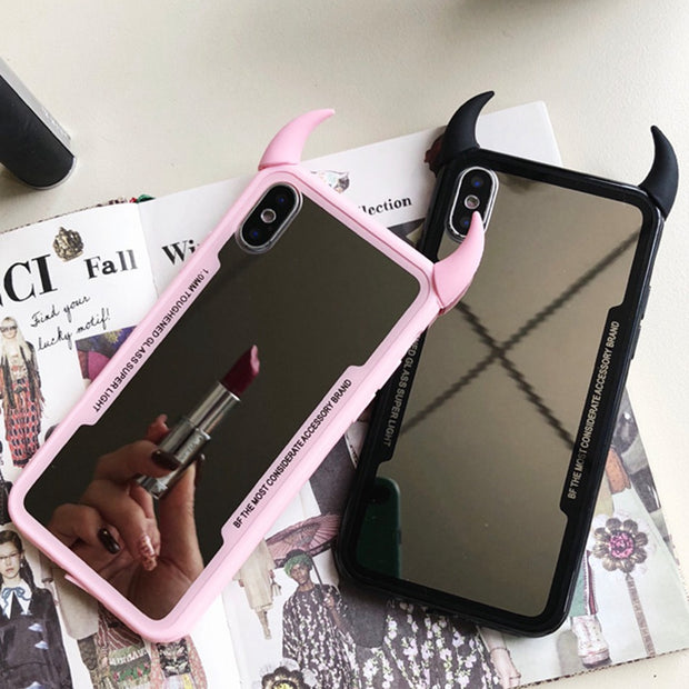 Luxury Mirror Case For OPPO F9 F7 F5/A73 3D Devil Horn Cover For OPPO A3S/A5 A59 A79 A83 A39/A57 R17 R15X/K1 Hard Acrylic Cases