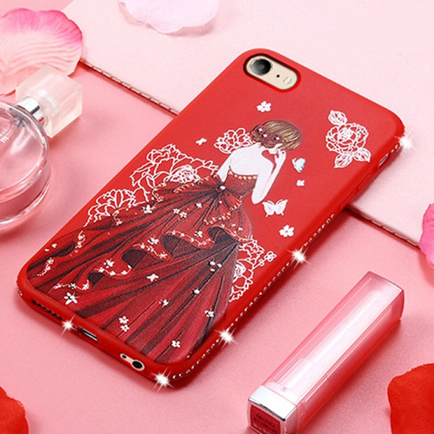 Luxury Rhinestone Pretty Girl Emboss Pattern Soft Silicone For OPPO A33 A 33 Carcasa Soft Silicone TPU Cover For OPPO Neo 7 A33