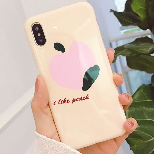 Peach Pattern Case For IPhone X Case Light Weight Anti-knock Back Cover For IPhone 6 6S Coque IPhone 7 8 Plus Phone Bumper Case