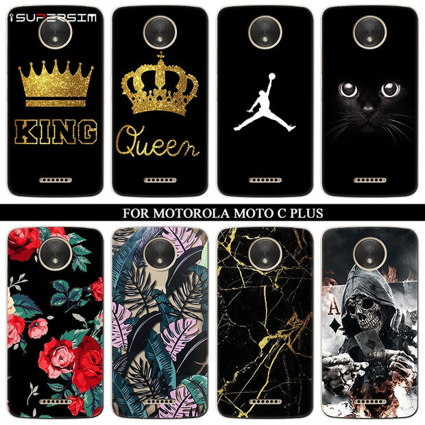 Phone Silicone Ultra Thin Soft TPU Rubber For Motorola Moto C Plus Case Transparent Queen Clear Back Cat Cartoon Print Cover
