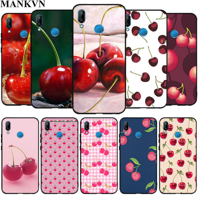 Pink Cherries Soft Silicone Black Phone Cases For Huawei P10 P20 Lite P9 Lite 2017 Mate 10 20 Lite Case Fundas