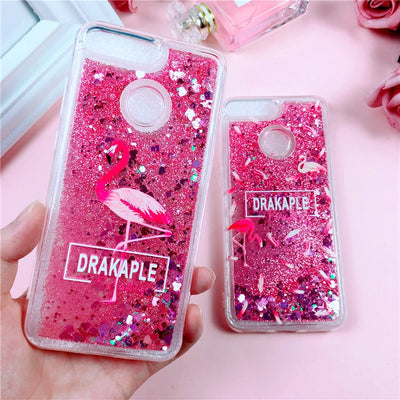 Pink Glitter Case On For Huawei Honor 7A Pro Case For Honor7A Huawei Y6 Prime 2018 Cover Liquid Quicksand Soft TPU Phone Cases