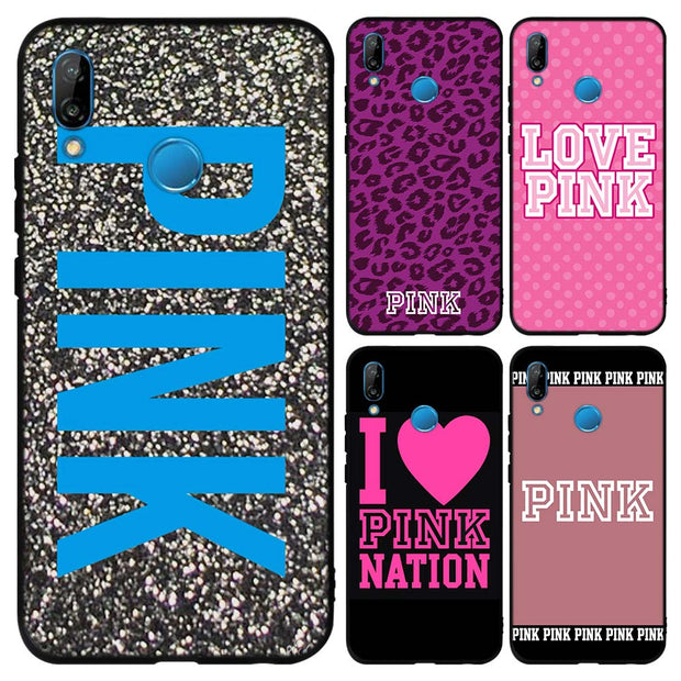 Pink Letter Word Soft TPU Silicone Black Cases Cover For Huawei P8 P9 Lite 2017 P10 P20 Lite Mate 10 Lite P Smart