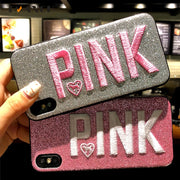 Retro Embroidery Letter PINK Word Case For Iphone 5 SE X 6 7 8 Plus For Huawei P8 P9 P10 Lite Mate 10 P Smart Bling Soft Cover