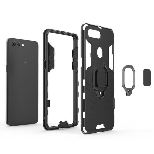 Silicone Back Case For OPPO A39 A57 R15 Pro Coque With Finger Ring Shockproof PC Case For OPPO R15 Pro R11S R9S R9Plus