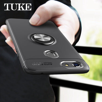 TUKE Luxury Silicone Case For OPPO F5 360 Rotation Degree Magnetic Metal Ring Holder Back Cover For F5 OPPO Phone Casing