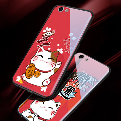 Tempered Glass Case For OPPO F3 A77 / F5 A73 A79 Case Cute Cat Festive Full Protection For OPPO F1S A59 A57 A53 A83 Back Case