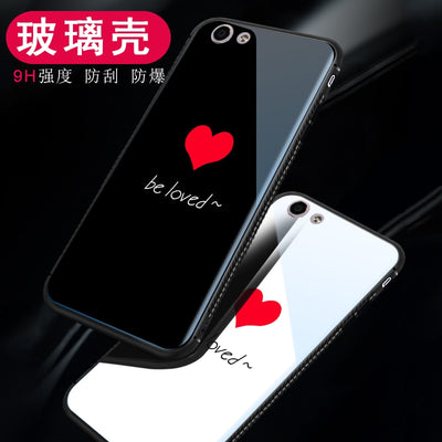 Tempered Glass Case For OPPO F3 A77 / F5 A73 A79 Lovely Heart Back Cover Soft Silicone Bumper For OPPO F1S A59 A57 A53 A83 Cases