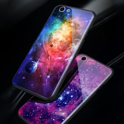 Tempered Glass Phone Cases For OPPO F3 A77 / F5 A73 A79 Cool Space Moon Case For OPPO F1S A59 A57 A53 A83 Planet Star Back Cover