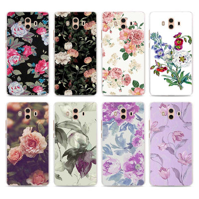 Villa Flora Pink Rose Pattern Transparent Phone Cover Fundas Coque For Huawei Mate 10 Lite 9 Mate 20 Lite P10 P20 Lite