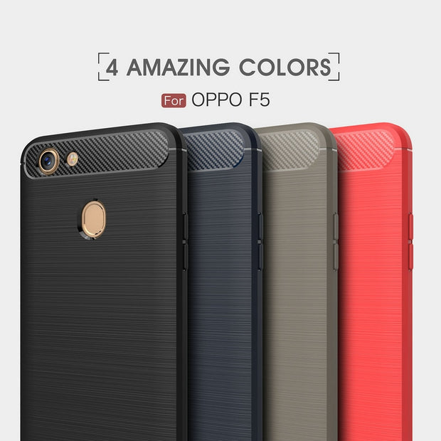 WHAY F5 For OPPO F5 Case Soft Silicone TPU Armor Cases For OPPO F5 Phone Cover TPU Carbon Fiber Covers