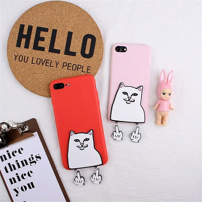 XINGYUANKE 3D Case For OPPO R7 Plus Case Cute Cartoon Middle Finger Cat Coque For OPPO R7S Case Soft Silicone Slim Cover Capa