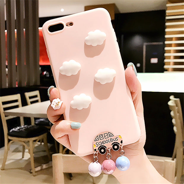 XINGYUANKE Cute 3D Clouds Phone Case For OPPO R9 Case Luxury Car Pearl Pendant Coque For OPPO R9 Plus Candy Color Silicone Cover