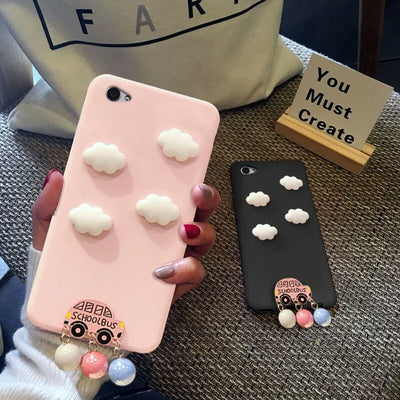 XINGYUANKE Cute Clouds Phone Case For OPPO R7 Case Luxury Car Pearl Pendant Coque For OPPO R7 Plus Candy Color Silicone Cover
