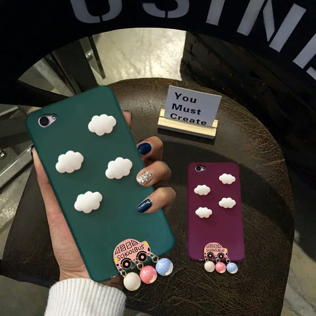 XINGYUANKE Cute Clouds Phone Case For OPPO R9S Case Luxury Car Pearl Pendant Coque For OPPO R9S Plus Candy Color Silicone Cover