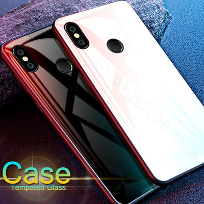 Xiaomi Mix 2s Tempered Glass Phone Case For Xiaomi Mi 6 A1 Mix2 A2 5X 6X Luxury Gradient Aurora Cover Xiomi MiA1 Mi6 Bumper Capa