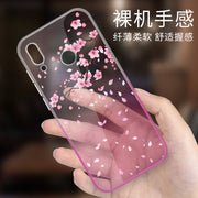 YSW Gradient Soft TPU Cover For Huawei P20 Lite P 20 Pro Protective Phone Case Painted Blue Pink Lovely Cartoon Funda Capa