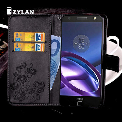 ZYLAN Flower Flip PU Leather Case Cover Wallet For Motorola Moto M X4 X Style Black Brown & FREE GIFT