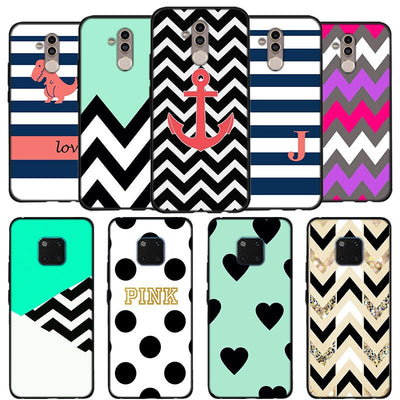 Mint And Pink Color Aztec Phone Case For Huawei Mate 10 20 Lite Mate 10 20 Pro P20 Lite Black Soft Silicone Coque Case