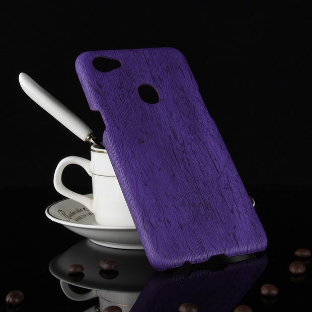 Subin New For Oppo F7 Case Vintage Wood PU Leather PC Hard Protective Shell Cover For Oppo F7 Phone Cases