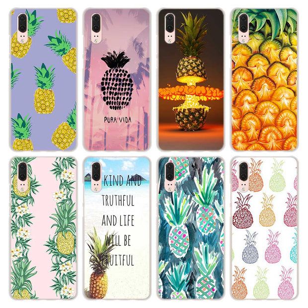 Summer Pink Pineapple Pattern Transparent Hard Phone Cover Fundas Coque For Huawei P8 P9 Lite 2017 P10 Lite P20 Lite P Smart