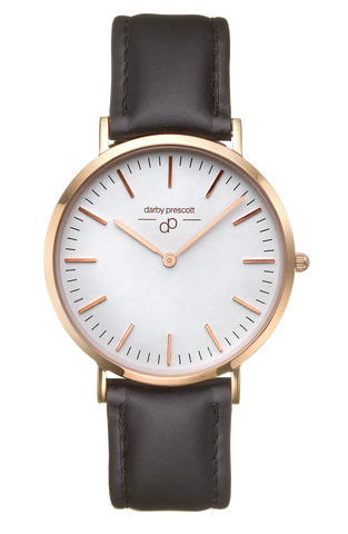 Rose Gold Darby Prescott Watch with Black Band