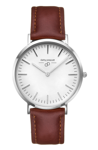 Silver Darby Prescott Watch with Brown Band