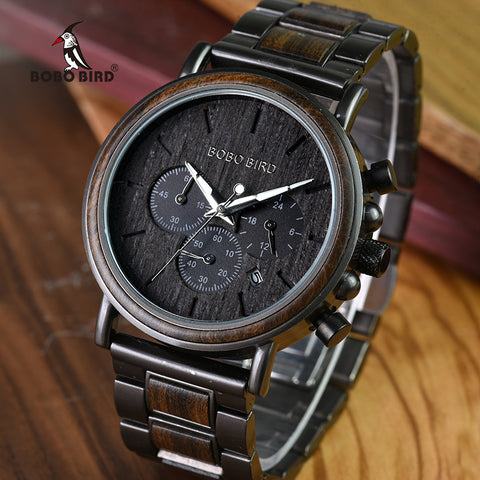 Wood Stainless Steel Quartz - Diamond Wrist