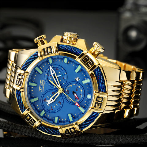 Remzeim Gold Face Quartz - Diamond Wrist