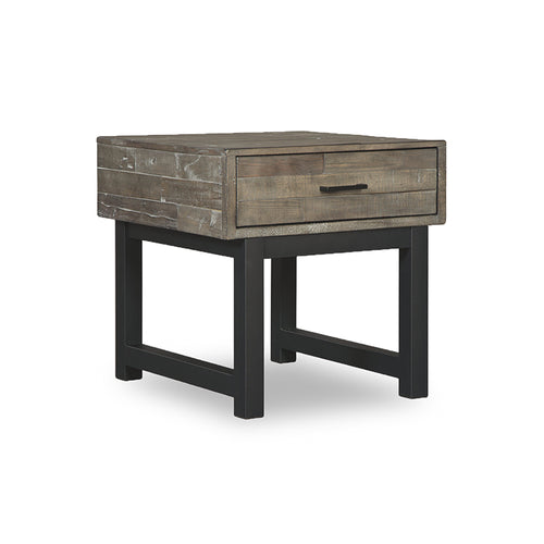 Modern rustic grey wood storage end table with dark metal legs