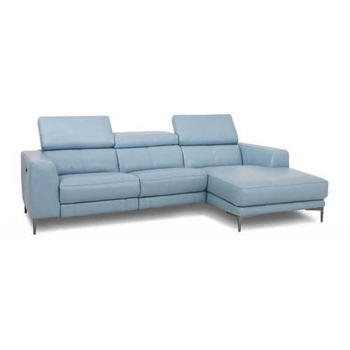 modern light blue grey top grain leather power reclining sofa chaise with adjustable headrests and black chrome nickel legs