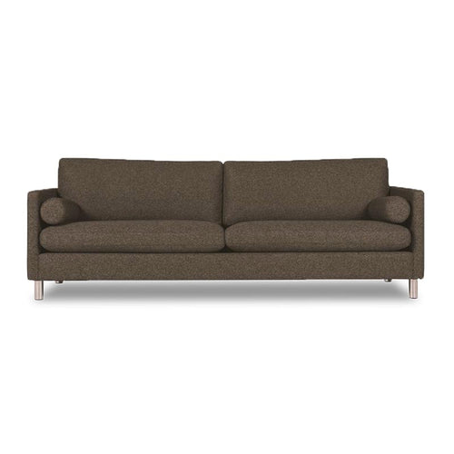 modern custom order brown fabric sofa with metal tube leg.