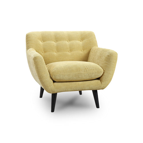 Modern Mid Century Yellow Fabric Tufted Occasional Arm Chair