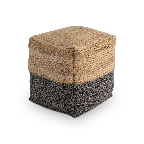 Modern duotone cotton and jute cube pouf ottoman