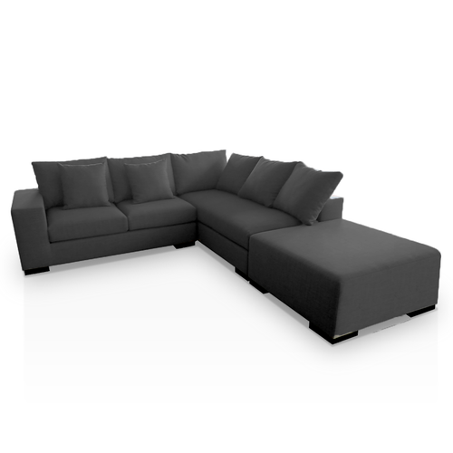 modern dark grey right hand facing sectional with ottoman and toss cushions