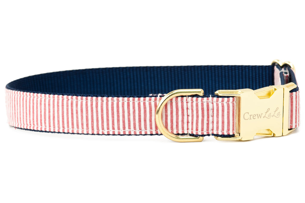 Crew LaLa Patriot Seersucker Dog Collar