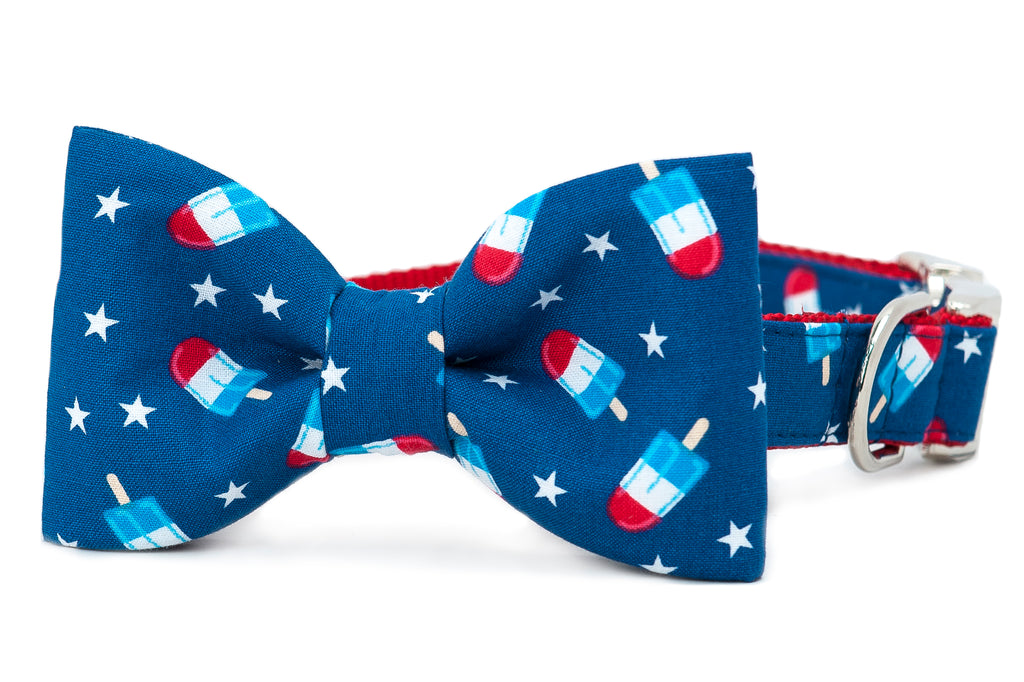 Patriotic Popsicles Bow Tie Dog Collar