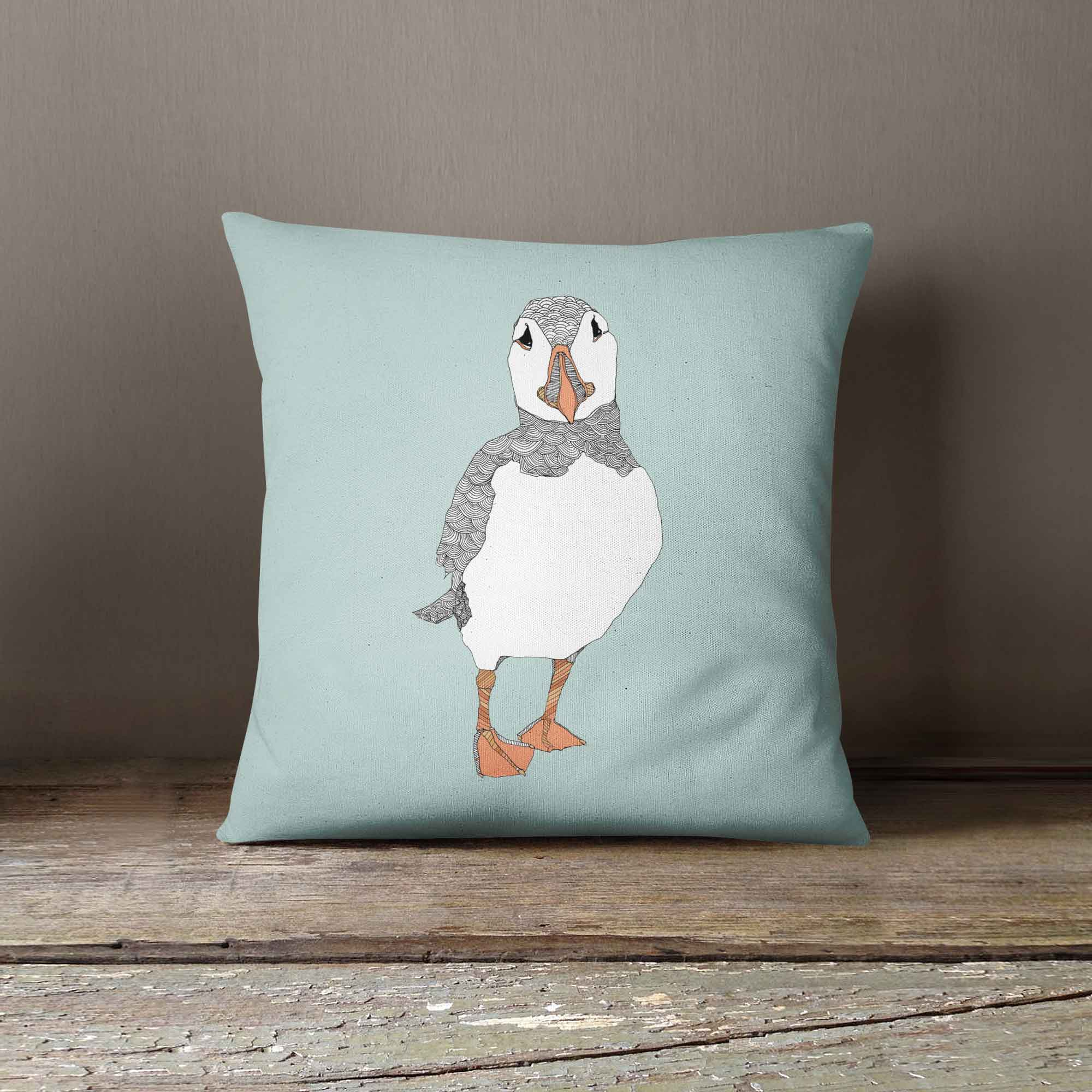 "Casey Rogers Illustration Cushion - ""Puffin2"""