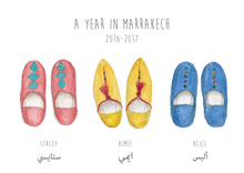 Load image into Gallery viewer, Personalised Arabic Babouche Print - Choose your slippers and wording